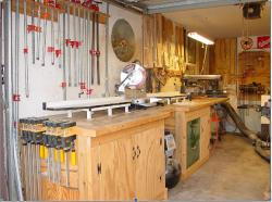 1. View from outside of the garage showing the chop saw station for cutting the western red cedar to length and to make miter cuts.