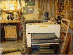 "5. The Woodmaster 26"" 5 HP drum sander eliminates almost 75% of the sanding time required on all parts. Notice the gated splitter on the vacuum system."